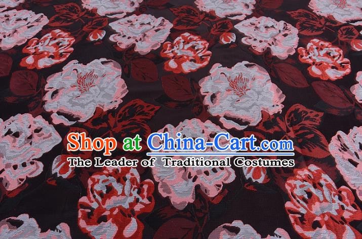 Chinese Traditional Costume Royal Palace Peony Pattern Coffee Brocade Fabric, Chinese Ancient Clothing Drapery Hanfu Cheongsam Material