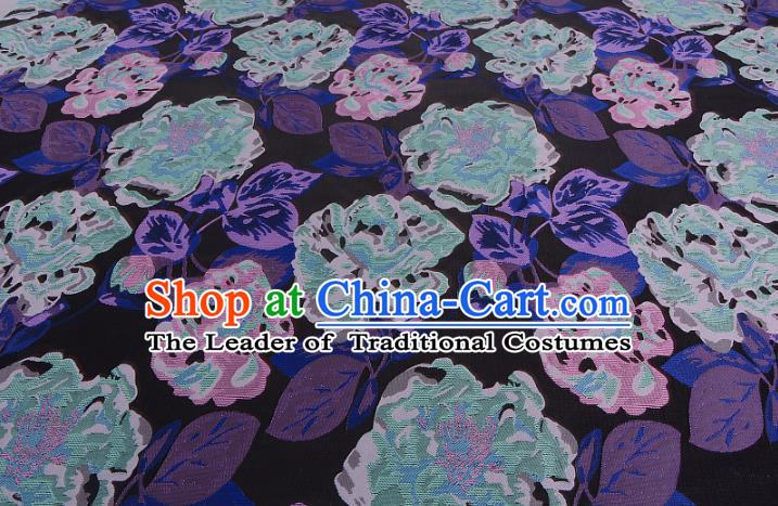 Chinese Traditional Costume Royal Palace Purple Peony Pattern Brocade Fabric, Chinese Ancient Clothing Drapery Hanfu Cheongsam Material