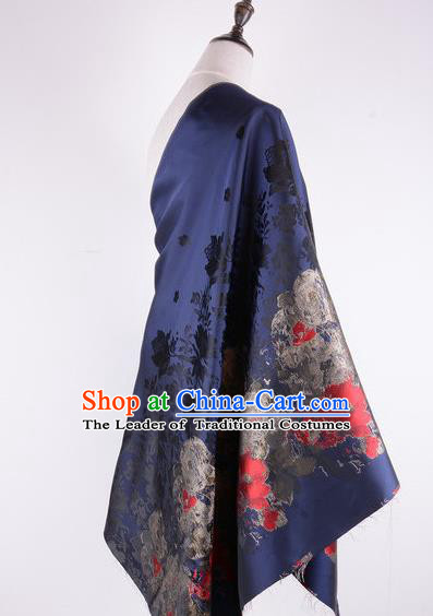 Chinese Traditional Costume Royal Palace Printing Flowers Pattern Deep Blue Brocade Fabric, Chinese Ancient Clothing Drapery Hanfu Cheongsam Material