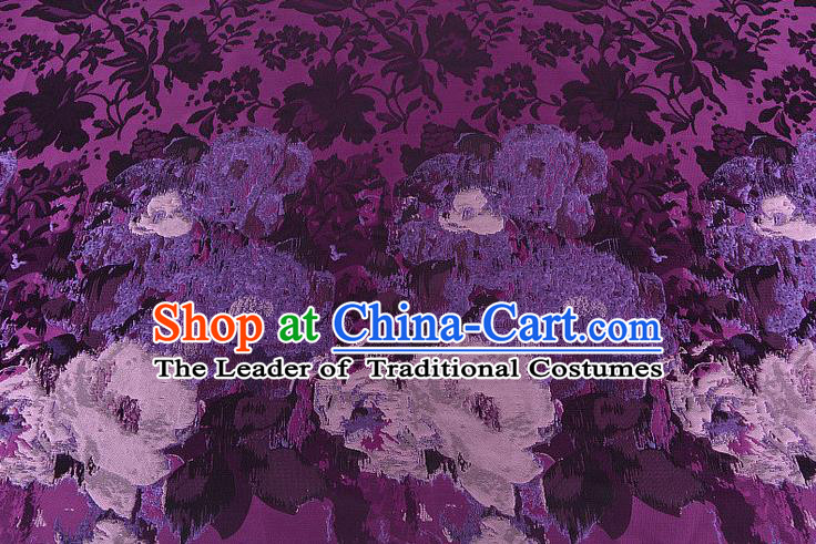 Chinese Traditional Costume Royal Palace Printing Flowers Pattern Purple Brocade Fabric, Chinese Ancient Clothing Drapery Hanfu Cheongsam Material
