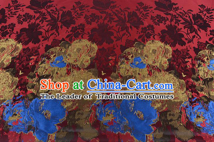 Chinese Traditional Costume Royal Palace Printing Flowers Pattern Red Brocade Fabric, Chinese Ancient Clothing Drapery Hanfu Cheongsam Material