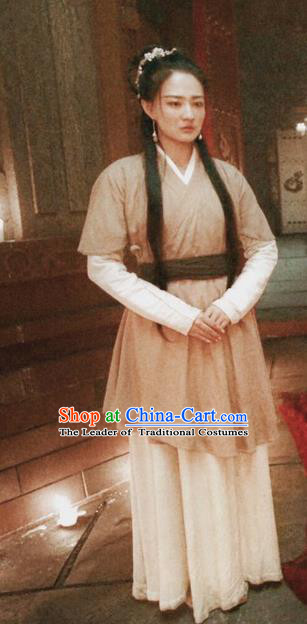 Traditional Chinese Tang Dynasty Young Lady Maidservant Costume for Women