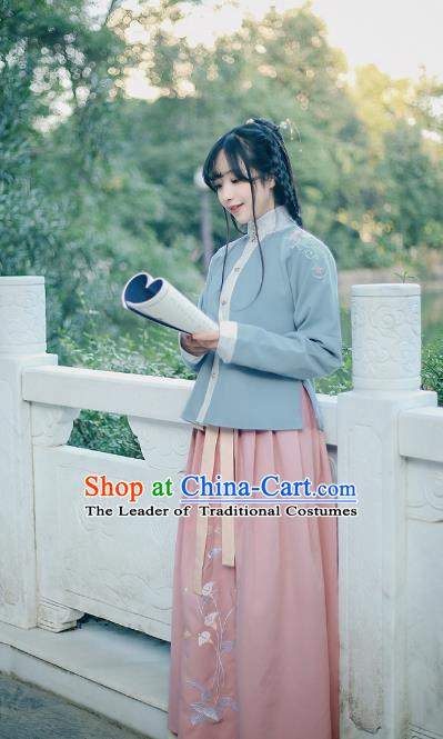 Traditional Chinese Ancient Ming Dynasty Palace Princess Embroidered Costume Blouse and Skirt Complete Set for Women