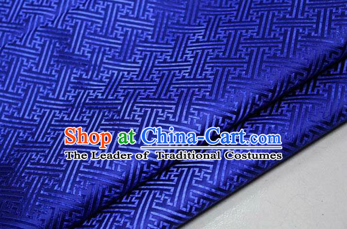 Chinese Traditional Costume Royal Palace Pattern Mongolian Robe Royalblue Brocade Fabric, Chinese Ancient Clothing Drapery Hanfu Cheongsam Material