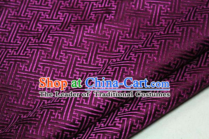 Chinese Traditional Costume Royal Palace Pattern Mongolian Robe Purple Brocade Fabric, Chinese Ancient Clothing Drapery Hanfu Cheongsam Material