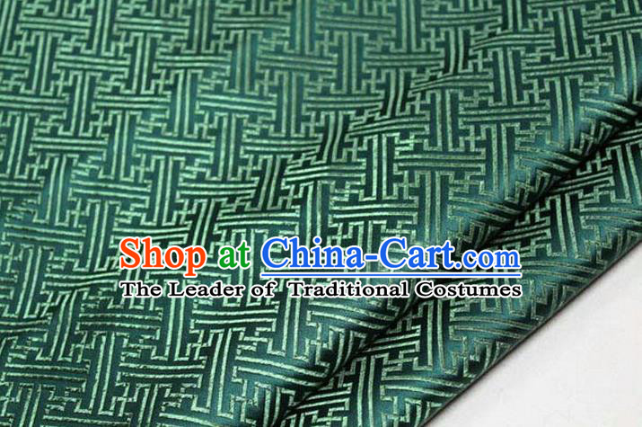 Chinese Traditional Costume Royal Palace Pattern Mongolian Robe Green Brocade Fabric, Chinese Ancient Clothing Drapery Hanfu Cheongsam Material