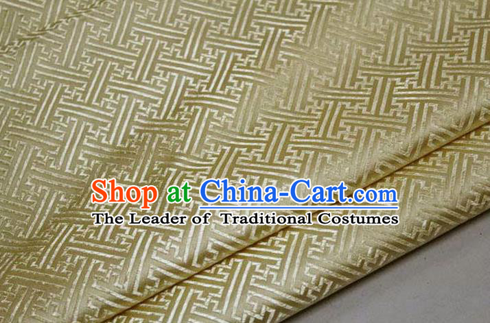 Chinese Traditional Costume Royal Palace Pattern Mongolian Robe Light Golden Brocade Fabric, Chinese Ancient Clothing Drapery Hanfu Cheongsam Material
