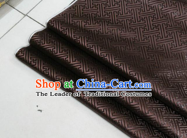 Chinese Traditional Costume Royal Palace Pattern Mongolian Robe Brown Brocade Fabric, Chinese Ancient Clothing Drapery Hanfu Cheongsam Material