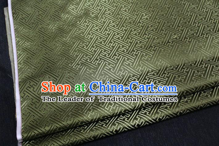 Chinese Traditional Costume Royal Palace Pattern Mongolian Robe Army Green Brocade Fabric, Chinese Ancient Clothing Drapery Hanfu Cheongsam Material