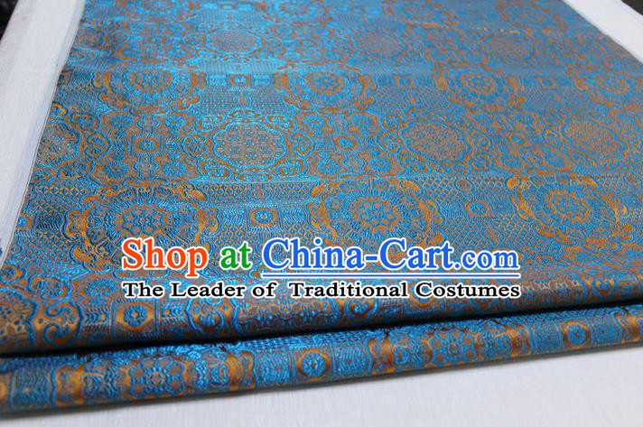 Chinese Traditional Royal Palace Pattern Mongolian Robe Lake Blue Brocade Fabric, Chinese Ancient Costume Drapery Hanfu Cheongsam Material