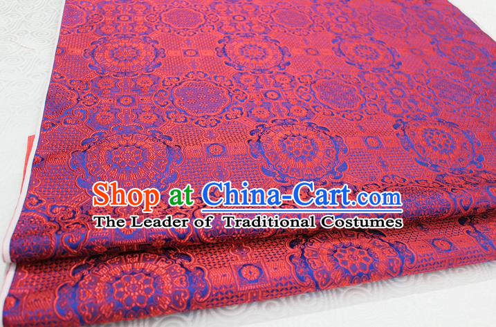 Chinese Traditional Royal Palace Blue Pattern Mongolian Robe Red Brocade Fabric, Chinese Ancient Costume Drapery Hanfu Cheongsam Material