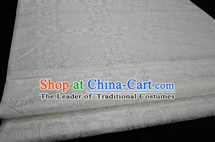 Chinese Traditional Royal Palace Pattern Mongolian Robe White Brocade Fabric, Chinese Ancient Costume Drapery Hanfu Cheongsam Material