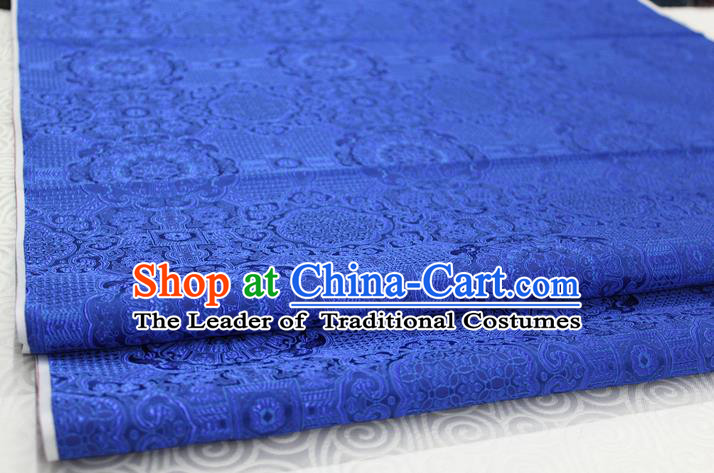 Chinese Traditional Royal Palace Pattern Mongolian Robe Deep Blue Brocade Fabric, Chinese Ancient Costume Drapery Hanfu Cheongsam Material
