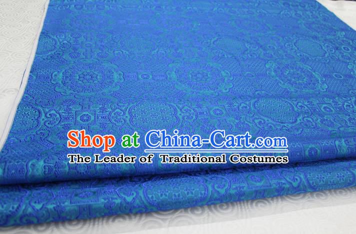 Chinese Traditional Royal Palace Pattern Mongolian Robe Blue Brocade Fabric, Chinese Ancient Costume Drapery Hanfu Cheongsam Material