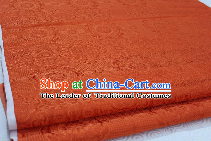 Chinese Traditional Royal Palace Pattern Mongolian Robe Orange Brocade Fabric, Chinese Ancient Costume Drapery Hanfu Cheongsam Material
