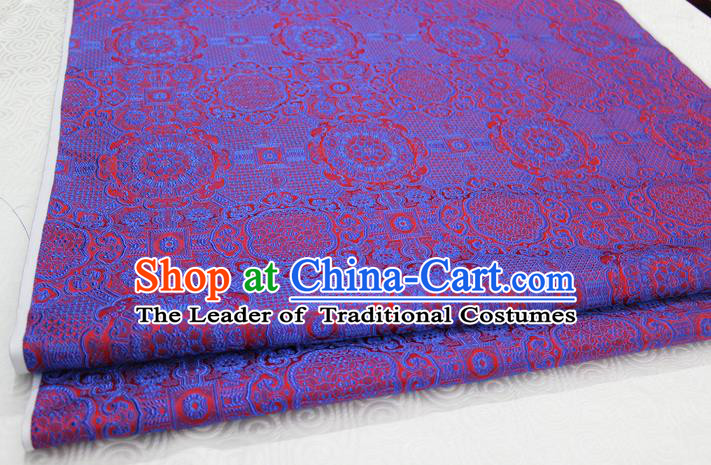 Chinese Traditional Royal Palace Pattern Mongolian Robe Purple Brocade Fabric, Chinese Ancient Costume Drapery Hanfu Cheongsam Material