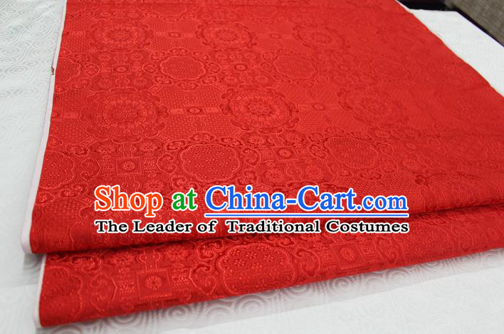 Chinese Traditional Royal Palace Pattern Mongolian Robe Red Brocade Fabric, Chinese Ancient Costume Drapery Hanfu Cheongsam Material