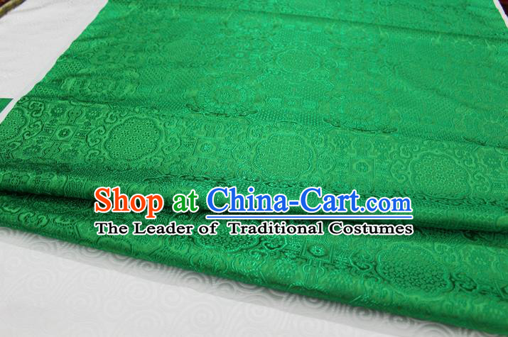 Chinese Traditional Royal Palace Pattern Mongolian Robe Green Brocade Fabric, Chinese Ancient Costume Drapery Hanfu Cheongsam Material