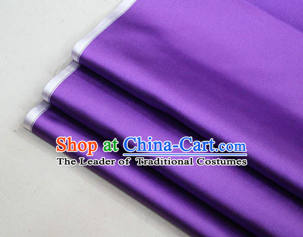 Chinese Traditional Royal Palace Mongolian Robe Purple Satin Brocade Fabric, Chinese Ancient Costume Drapery Hanfu Cheongsam Material