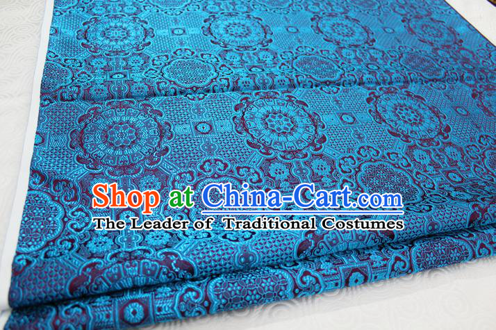 Chinese Traditional Royal Palace Blue Pattern Mongolian Robe Brocade Fabric, Chinese Ancient Costume Drapery Hanfu Cheongsam Material