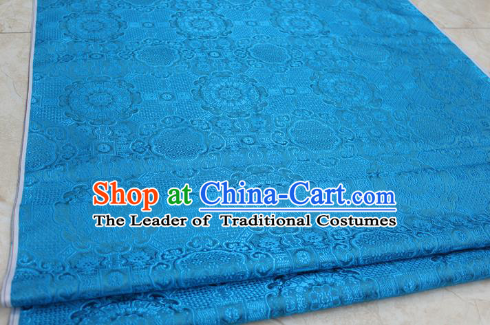 Chinese Traditional Royal Palace Pattern Mongolian Robe Sky Blue Brocade Fabric, Chinese Ancient Costume Drapery Hanfu Cheongsam Material