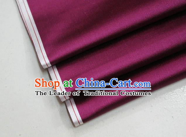 Chinese Traditional Royal Palace Mongolian Robe Amaranth Satin Brocade Fabric, Chinese Ancient Costume Drapery Hanfu Cheongsam Material