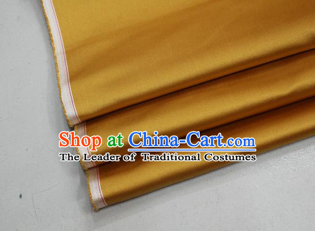 Chinese Traditional Royal Palace Mongolian Robe Ginger Satin Brocade Fabric, Chinese Ancient Costume Drapery Hanfu Cheongsam Material