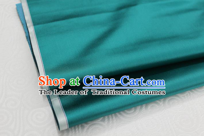 Chinese Traditional Royal Palace Mongolian Robe Peacock Green Satin Brocade Fabric, Chinese Ancient Costume Drapery Hanfu Cheongsam Material