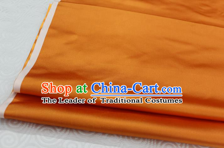 Chinese Traditional Royal Palace Mongolian Robe Orange Satin Brocade Fabric, Chinese Ancient Costume Drapery Hanfu Cheongsam Material