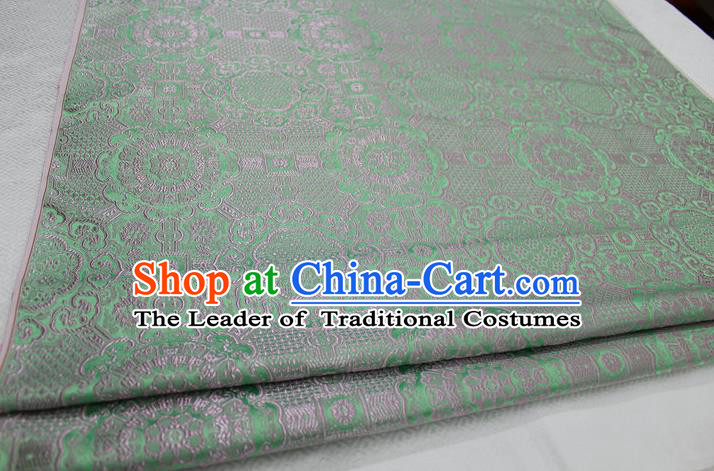 Chinese Traditional Royal Palace Pattern Mongolian Robe Light Green Brocade Fabric, Chinese Ancient Costume Drapery Hanfu Cheongsam Material
