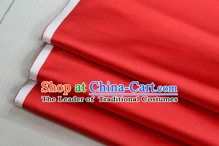 Chinese Traditional Royal Palace Mongolian Robe Red Satin Brocade Fabric, Chinese Ancient Costume Drapery Hanfu Cheongsam Material