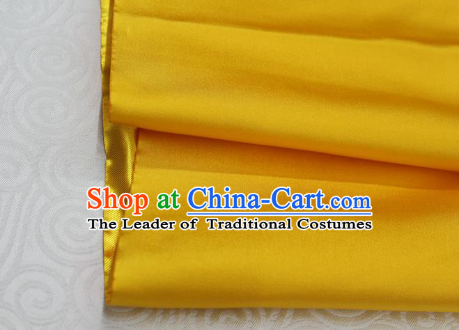 Chinese Traditional Royal Palace Mongolian Robe Golden Satin Brocade Fabric, Chinese Ancient Costume Drapery Hanfu Cheongsam Material
