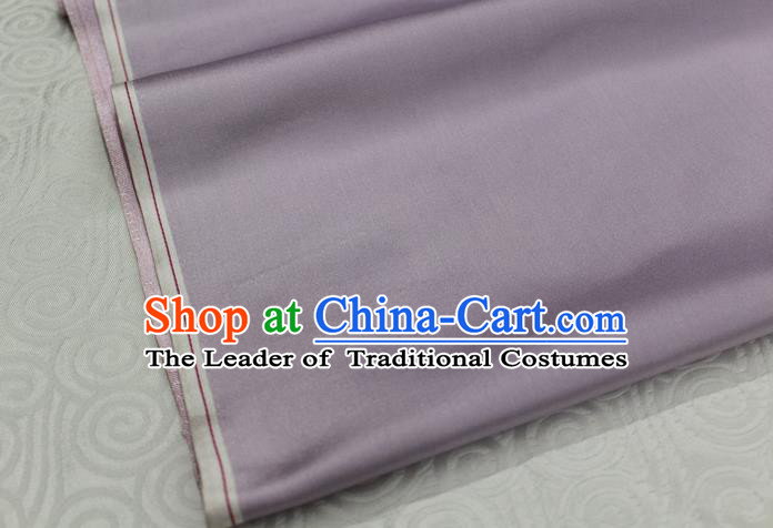 Chinese Traditional Royal Palace Mongolian Robe Lilac Satin Brocade Fabric, Chinese Ancient Costume Drapery Hanfu Cheongsam Material