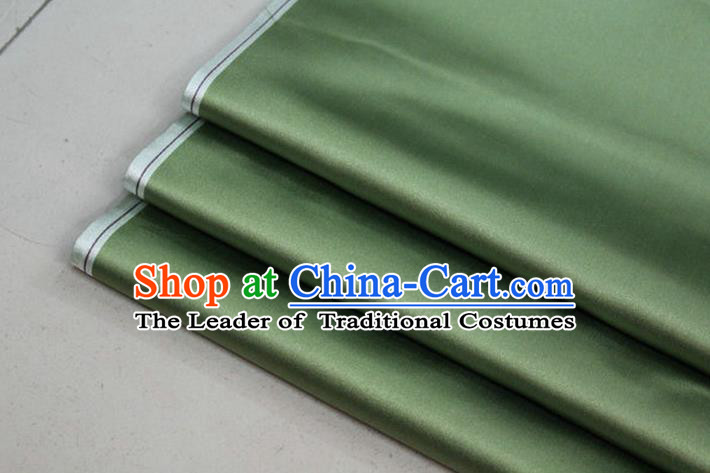 Chinese Traditional Royal Palace Mongolian Robe Grass Green Satin Brocade Fabric, Chinese Ancient Costume Drapery Hanfu Cheongsam Material
