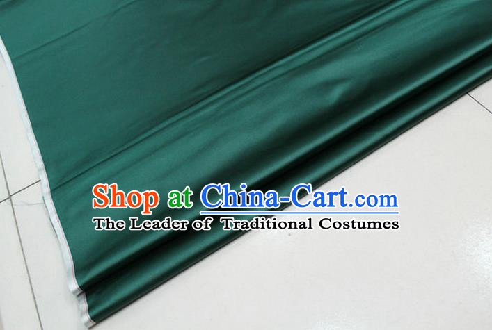 Chinese Traditional Royal Palace Mongolian Robe Atrovirens Satin Brocade Fabric, Chinese Ancient Costume Drapery Hanfu Cheongsam Material