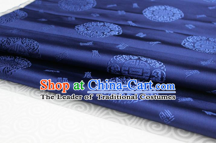 Chinese Traditional Royal Palace Longevity Pattern Mongolian Robe Deep Blue Satin Brocade Fabric, Chinese Ancient Costume Drapery Hanfu Tang Suit Material