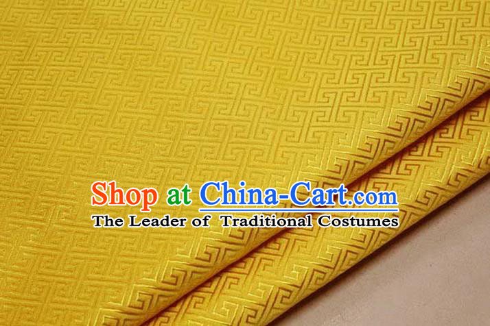Chinese Traditional Royal Palace Back Pattern Mongolian Robe Golden Satin Brocade Fabric, Chinese Ancient Costume Drapery Hanfu Tang Suit Material