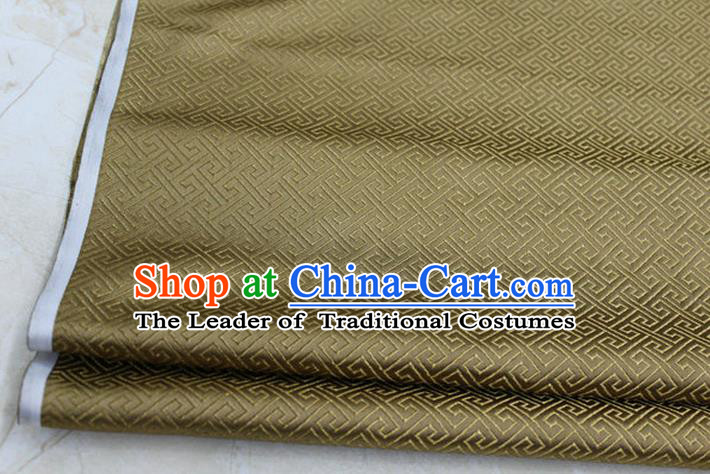 Chinese Traditional Royal Palace Back Pattern Mongolian Robe Bronze Satin Brocade Fabric, Chinese Ancient Costume Drapery Hanfu Tang Suit Material