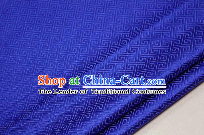 Chinese Traditional Royal Palace Back Pattern Mongolian Robe Royalblue Satin Brocade Fabric, Chinese Ancient Costume Drapery Hanfu Tang Suit Material