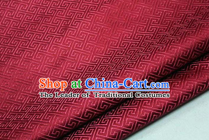 Chinese Traditional Royal Palace Back Pattern Mongolian Robe Wine Red Satin Brocade Fabric, Chinese Ancient Costume Drapery Hanfu Tang Suit Material
