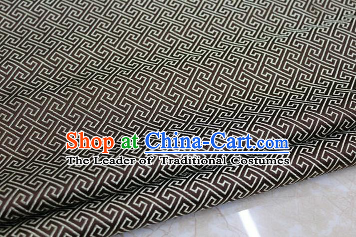 Chinese Traditional Royal Palace Back Pattern Mongolian Robe Deep Coffee Satin Brocade Fabric, Chinese Ancient Costume Drapery Hanfu Tang Suit Material
