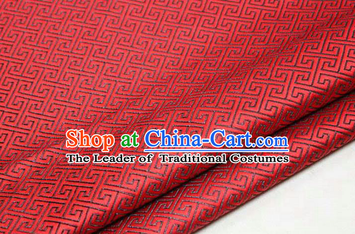 Chinese Traditional Royal Palace Back Pattern Mongolian Robe Red Satin Brocade Fabric, Chinese Ancient Costume Drapery Hanfu Tang Suit Material