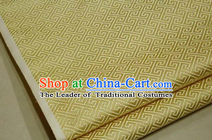 Chinese Traditional Royal Palace Back Pattern Mongolian Robe Yellow Satin Brocade Fabric, Chinese Ancient Costume Drapery Hanfu Tang Suit Material