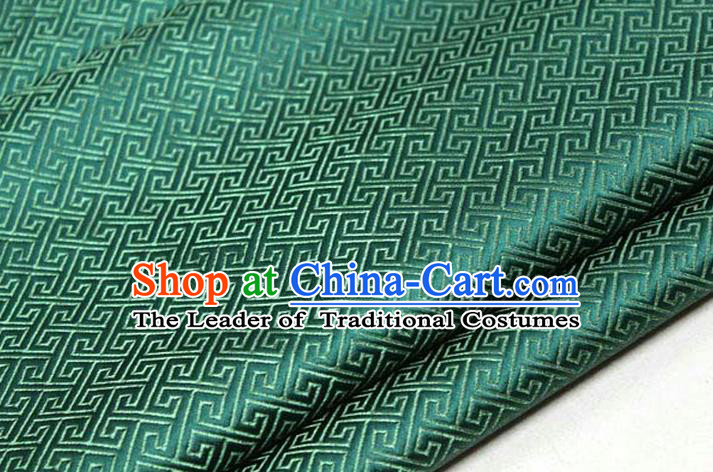 Chinese Traditional Royal Palace Back Pattern Mongolian Robe Deep Green Satin Brocade Fabric, Chinese Ancient Costume Drapery Hanfu Tang Suit Material