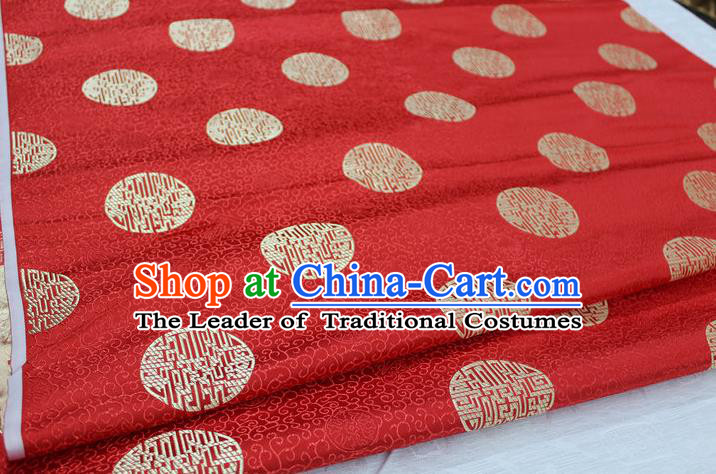 Chinese Traditional Royal Palace Longevity Pattern Mongolian Robe Red Brocade Fabric, Chinese Ancient Costume Drapery Hanfu Tang Suit Material