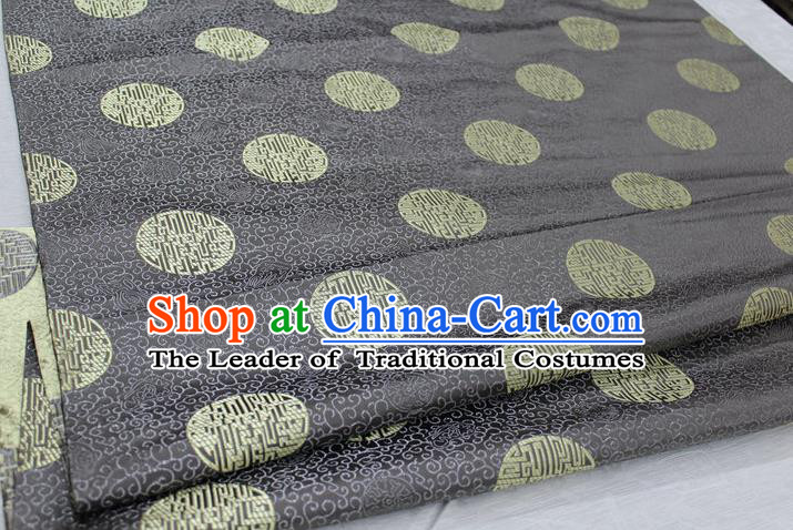 Chinese Traditional Royal Palace Longevity Pattern Mongolian Robe Grey Brocade Fabric, Chinese Ancient Costume Drapery Hanfu Tang Suit Material
