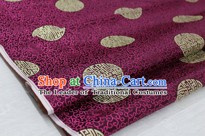 Chinese Traditional Royal Palace Longevity Pattern Mongolian Robe Purple Brocade Fabric, Chinese Ancient Costume Drapery Hanfu Tang Suit Material