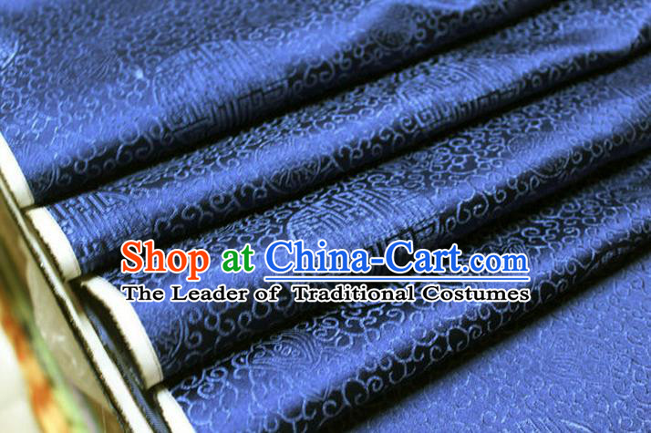 Chinese Traditional Royal Palace Longevity Pattern Mongolian Robe Deep Blue Brocade Fabric, Chinese Ancient Costume Drapery Hanfu Tang Suit Material