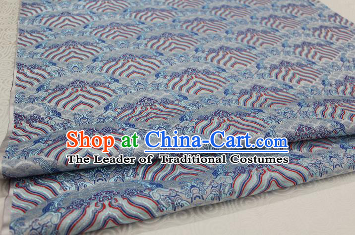 Chinese Traditional Royal Palace Pattern Mongolian Robe Blue Brocade Fabric, Chinese Ancient Emperor Costume Drapery Hanfu Tang Suit Material