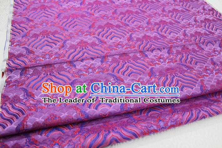 Chinese Traditional Royal Palace Pattern Mongolian Robe Amaranth Brocade Fabric, Chinese Ancient Emperor Costume Drapery Hanfu Tang Suit Material